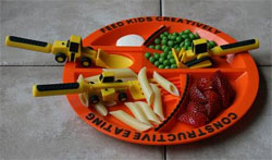 Constructive Eating Utensil Set and Construction Plate