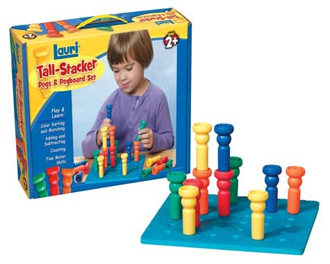 Tall Stacker Pegs & Pegboard from Lauri Toys and Patch Products, Back to School Kids Product Review